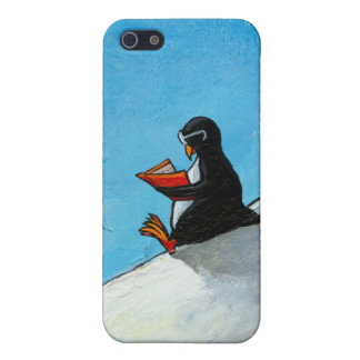 Cute penguin reading fun whimsical original art cover for iPhone 5