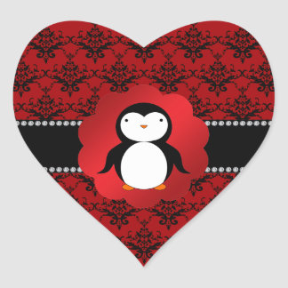 Cute penguin red damask heart sticker