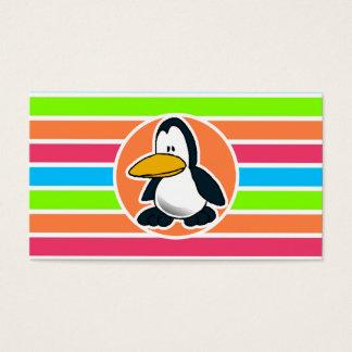 Cute Penguin; Retro Neon Rainbow Business Card