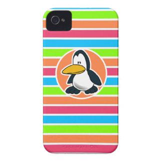 Cute Penguin; Retro Neon Rainbow iPhone 4 Case