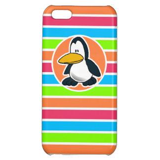 Cute Penguin; Retro Neon Rainbow iPhone 5C Case