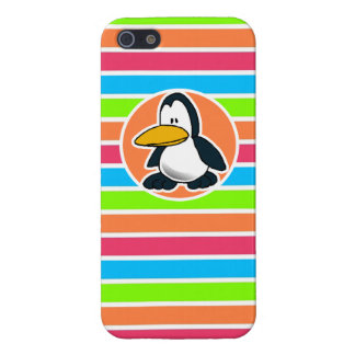 Cute Penguin; Retro Neon Rainbow Covers For iPhone 5