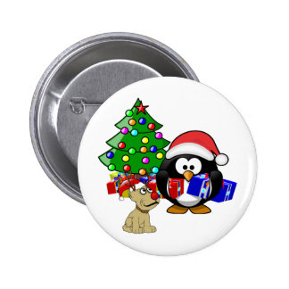 Cute Penguin Santa and Reindeer Dog 2 Inch Round Button