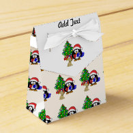 Cute Penguin Santa and Reindeer Dog Party Favor Boxes