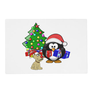Cute Penguin Santa and Reindeer Dog Placemat