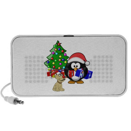 Cute Penguin Santa and Reindeer Dog iPhone Speakers