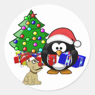 Cute Penguin Santa and Reindeer Dog Stickers