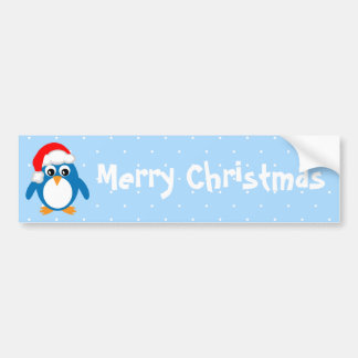 Cute Penguin Santa Merry Christmas Bumper Stickers