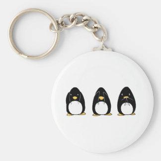 Cute Penguin See Speak Hear No Evil Basic Round Button Keychain