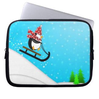 Cute Penguin Snow Sled Electronics Bag Laptop Sleeve