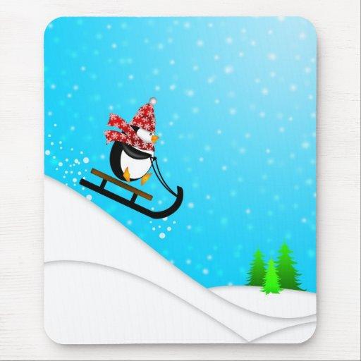 Cute Penguin Snow Sled Mousepad