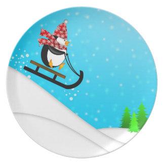 Cute Penguin Snow Sled Plate