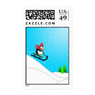 Cute Penguin Snow Sled Postage