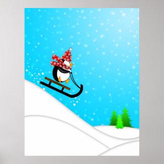 Cute Penguin Snow Sled Poster
