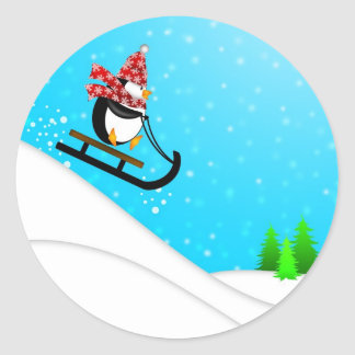 Cute Penguin Snow Sledding Plate Classic Round Sticker