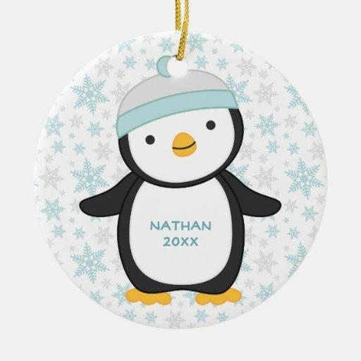 Cute Penguin Snowflake Christmas Ornament