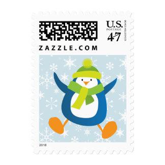 Cute Penguin & Snowflake Christmas Postage | Small