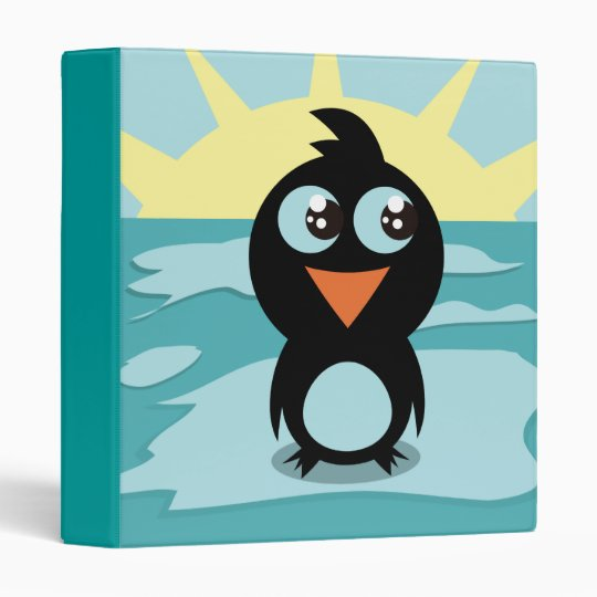 Cute Penguin Standing on Ice Binder