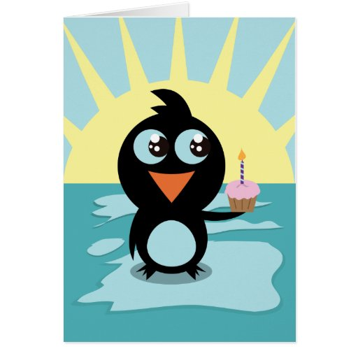 Cute Penguin Standing on Ice Greeting Card