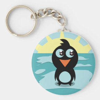 Cute Penguin Standing on Ice Keychain