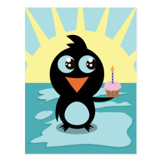 Cute Penguin Standing on Ice Post Cards