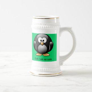 Cute Penguin Stein Green 18 Oz Beer Stein