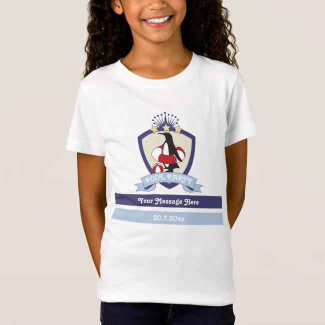 Cute Penguin Swim Club Crest Pool Party Kids