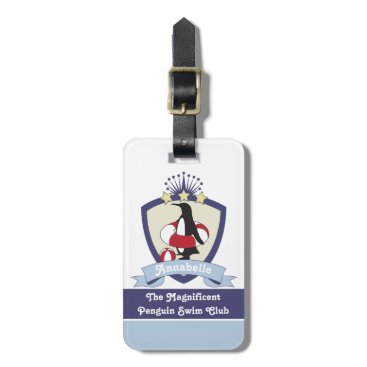 Beach Themed Cute Penguin Swimming Club Crest Personalized Kids Bag Tag