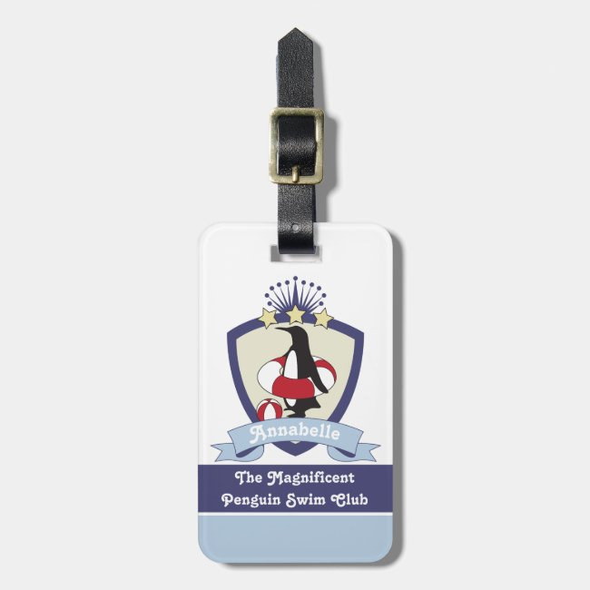 Cute Penguin Swimming Club Crest Personalized Kids