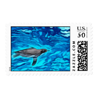 cute penguin swimming in blue water painting postage