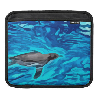 cute penguin swimming in blue water painting sleeve for iPads