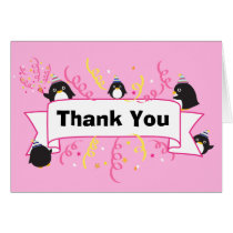 Cute penguin thank you card-pink