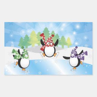 Cute Penguin Trio Figure Skate Sticker