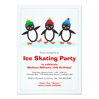 Cute Penguin Trio Ice Skating Birthday Party Invitations