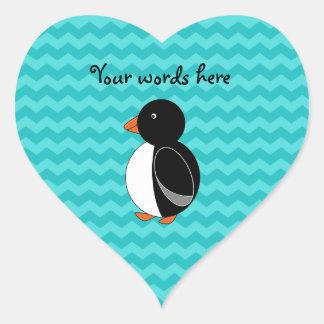 Cute penguin turquoise chevrons heart sticker