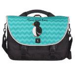 Cute penguin turquoise chevrons laptop messenger bag