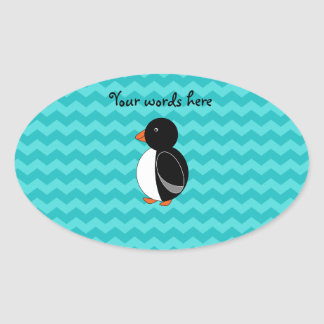 Cute penguin turquoise chevrons oval sticker