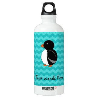 Cute penguin turquoise chevrons SIGG traveler 0.6L water bottle