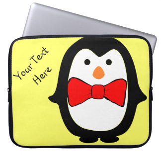 Cute Penguin w/ Red Bow Tie Yellow Electronics Bag Laptop Sleeves
