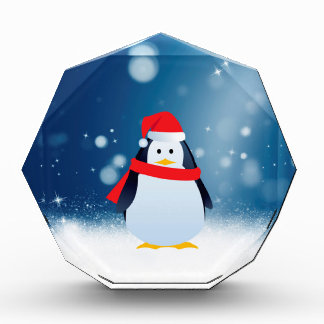 Cute Penguin w Red Santa Hat Christmas Snow Stars Acrylic Award