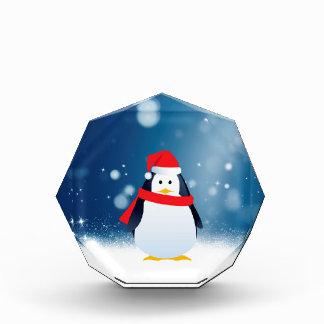 Cute Penguin w Red Santa Hat Christmas Snow Stars Award