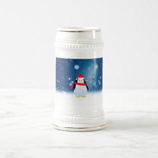 Cute Penguin w Red Santa Hat Christmas Snow Stars Beer Stein