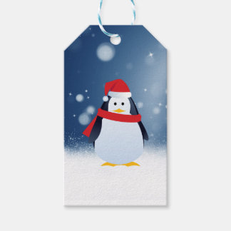 Cute Penguin w Red Santa Hat Christmas Snow Stars Gift Tags