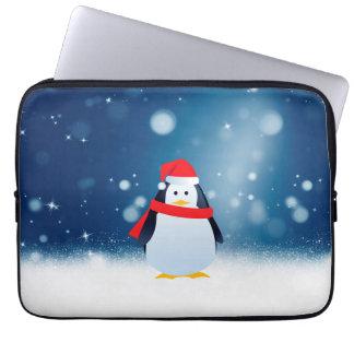 Cute Penguin w Red Santa Hat Christmas Snow Stars Laptop Sleeves