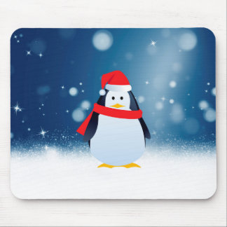 Cute Penguin w Red Santa Hat Christmas Snow Stars Mouse Pad
