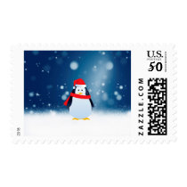 Cute Penguin w Red Santa Hat Christmas Snow Stars Postage