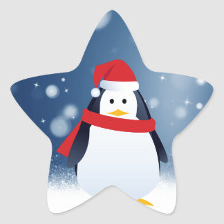 Cute Penguin w Red Santa Hat Christmas Snow Stars Star Sticker