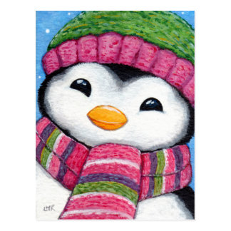 Cute Penguin Wearing Hat and Scarf Postcard