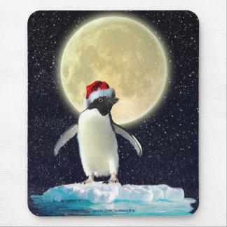 Cute Penguin & Winter Moon Christmas Mousepad