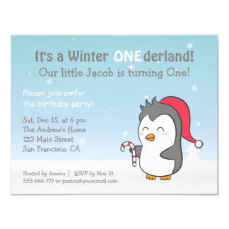 Cute Penguin Winter Onederland Kids Birthday Party Card